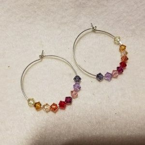 Artisan hoops with Swarovski crystals